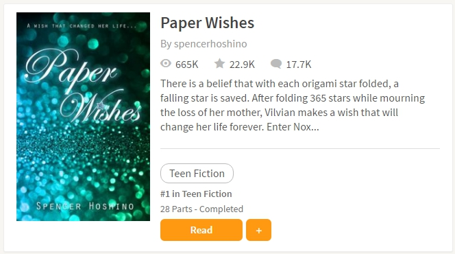 Screenshot of Paper Wishes ranking on Wattpad