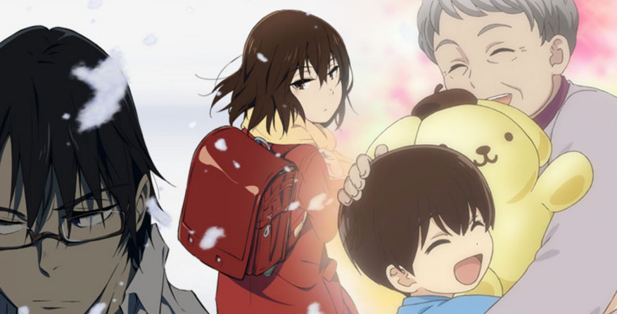 "banner with images from ""erased"" anime and ""sanrio boys"" anime"